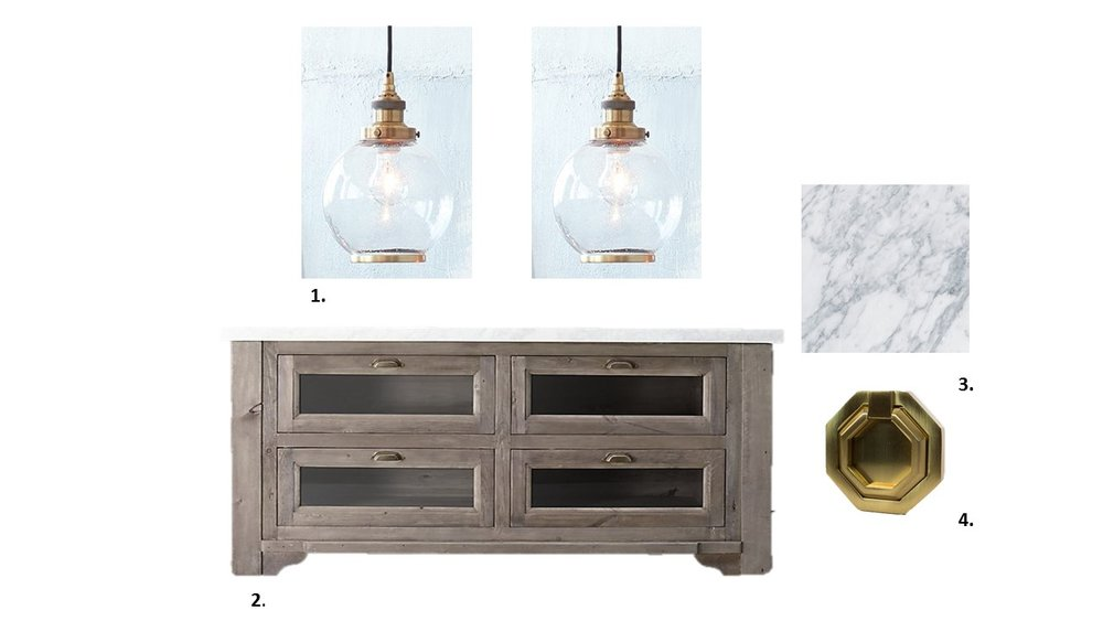 1.  Arhaus Industrial Globe Pendan t 2. Custom Cerised Island 3. Carerra Marble 4.  Custom Pulls from Nest Studio