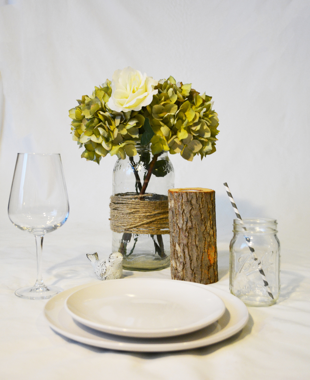 Example Table Setting : Porcelain Farm Plates, Mason Jar, Wine Glass, and Mock Centerpiece