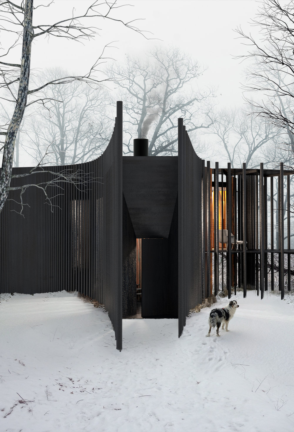 Facade of the cabin is made of charred timber.