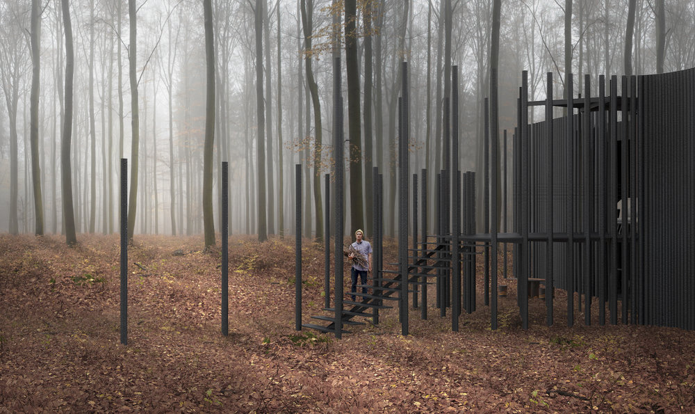 Vertical timber poles relate to the language of trees in the forest.