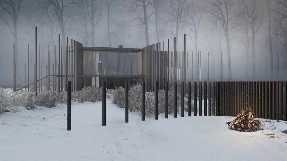 Charred timber poles provide support for the terraces and shading.