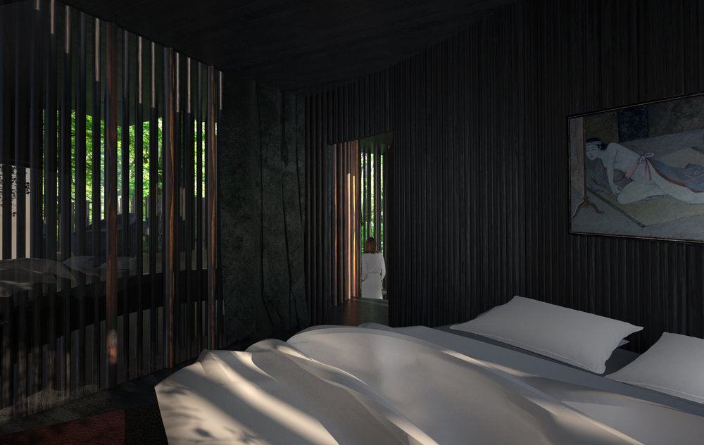 Charred timber walls give unique character to the interior.