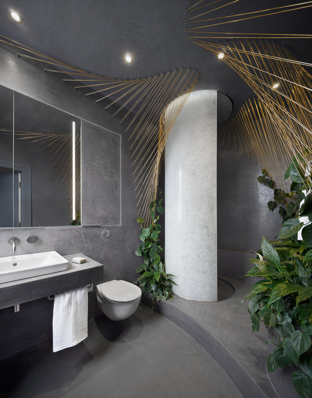 The bathroom ambience provides feeling of well-being.