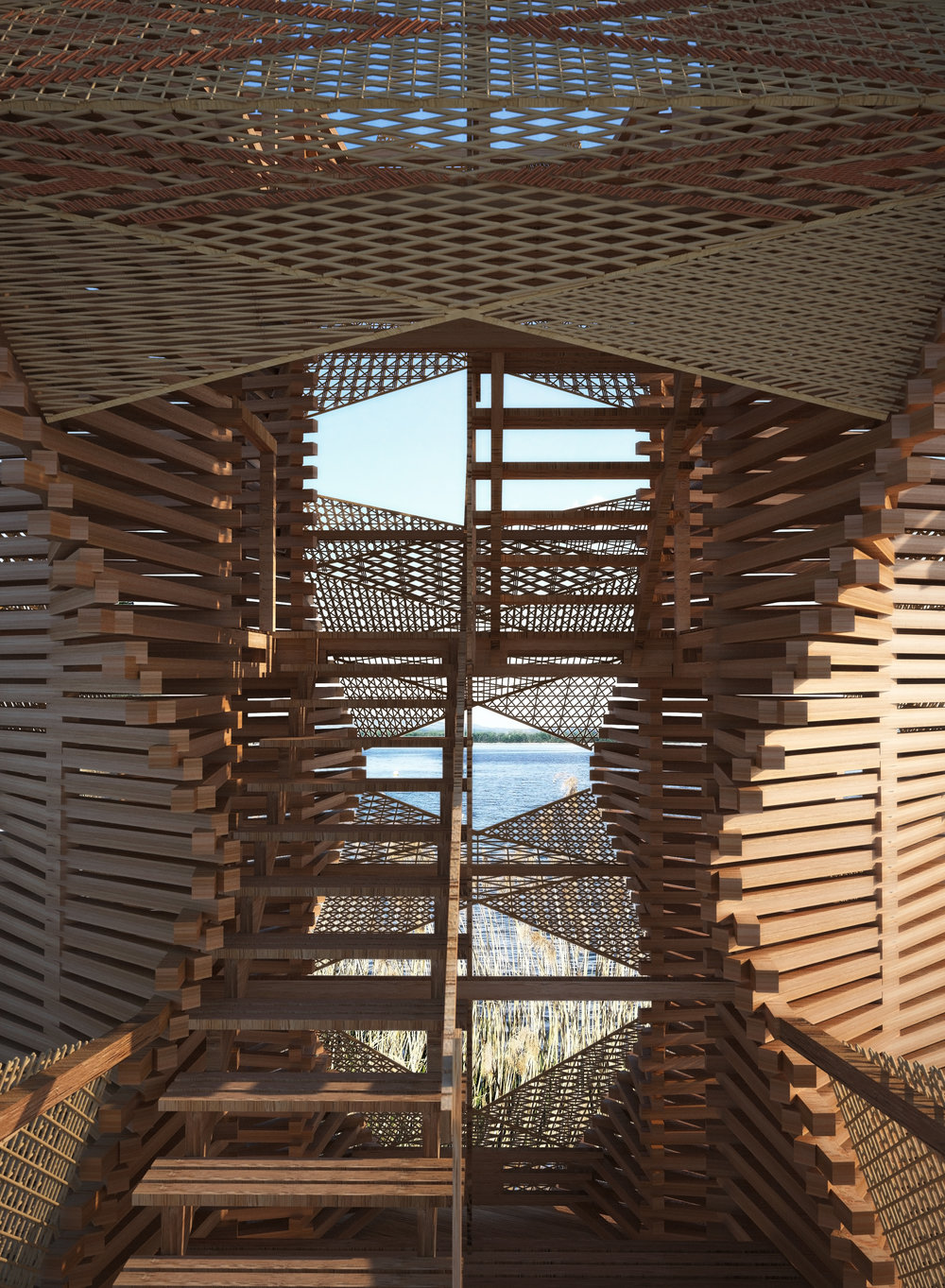 The tower is made of overlapping standard size local timber battens assembled using robotic arm.