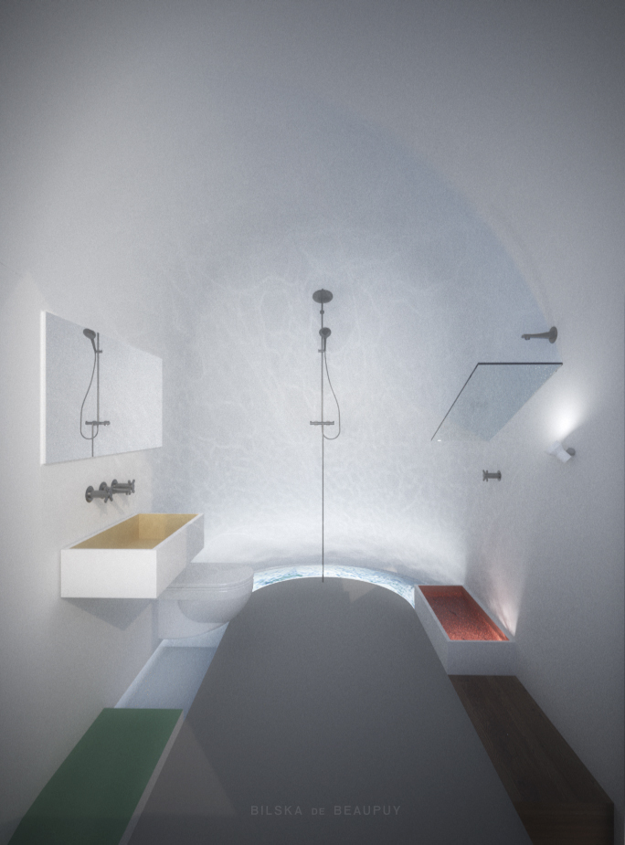 White natural plaster walls and ceiling are canvas for water reflections.