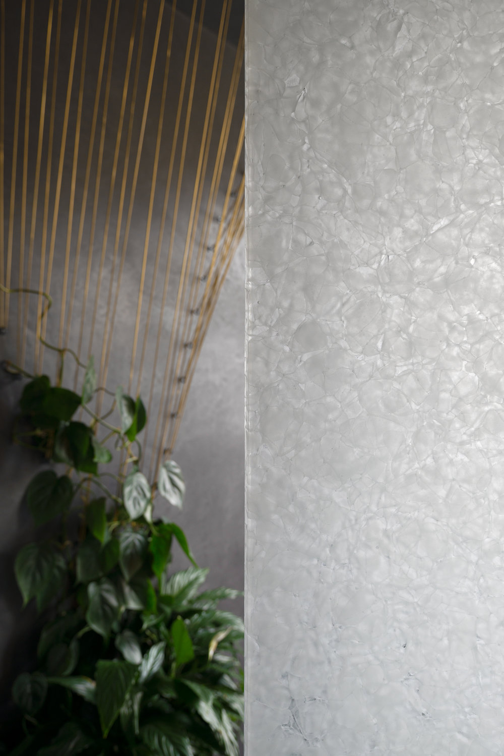 Shower screen is made of recycled glass.