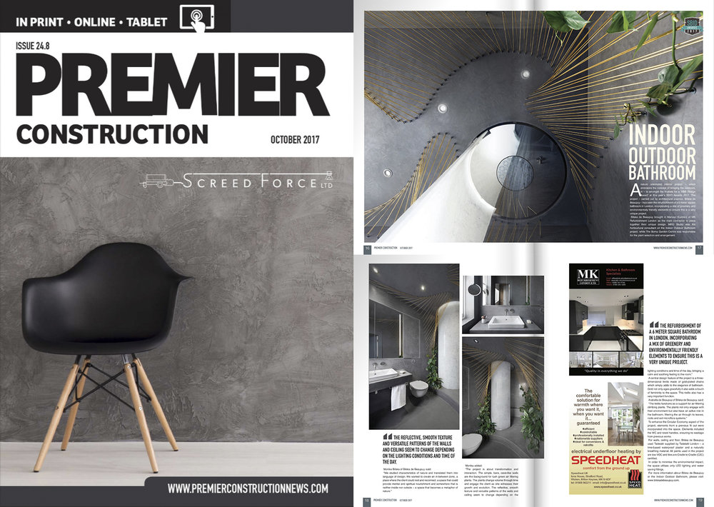 Indoor Outdoor Bathroom by Bilska de Beaupuy published in Premier Construction magazine - October 2017