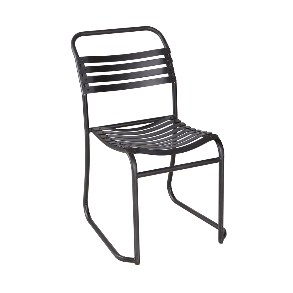 METAL SLATTED STACKING CHAIR