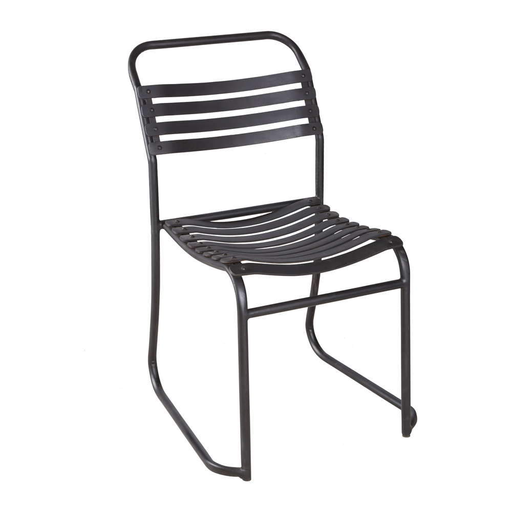 RUBBER SLATTED STACKING CHAIR