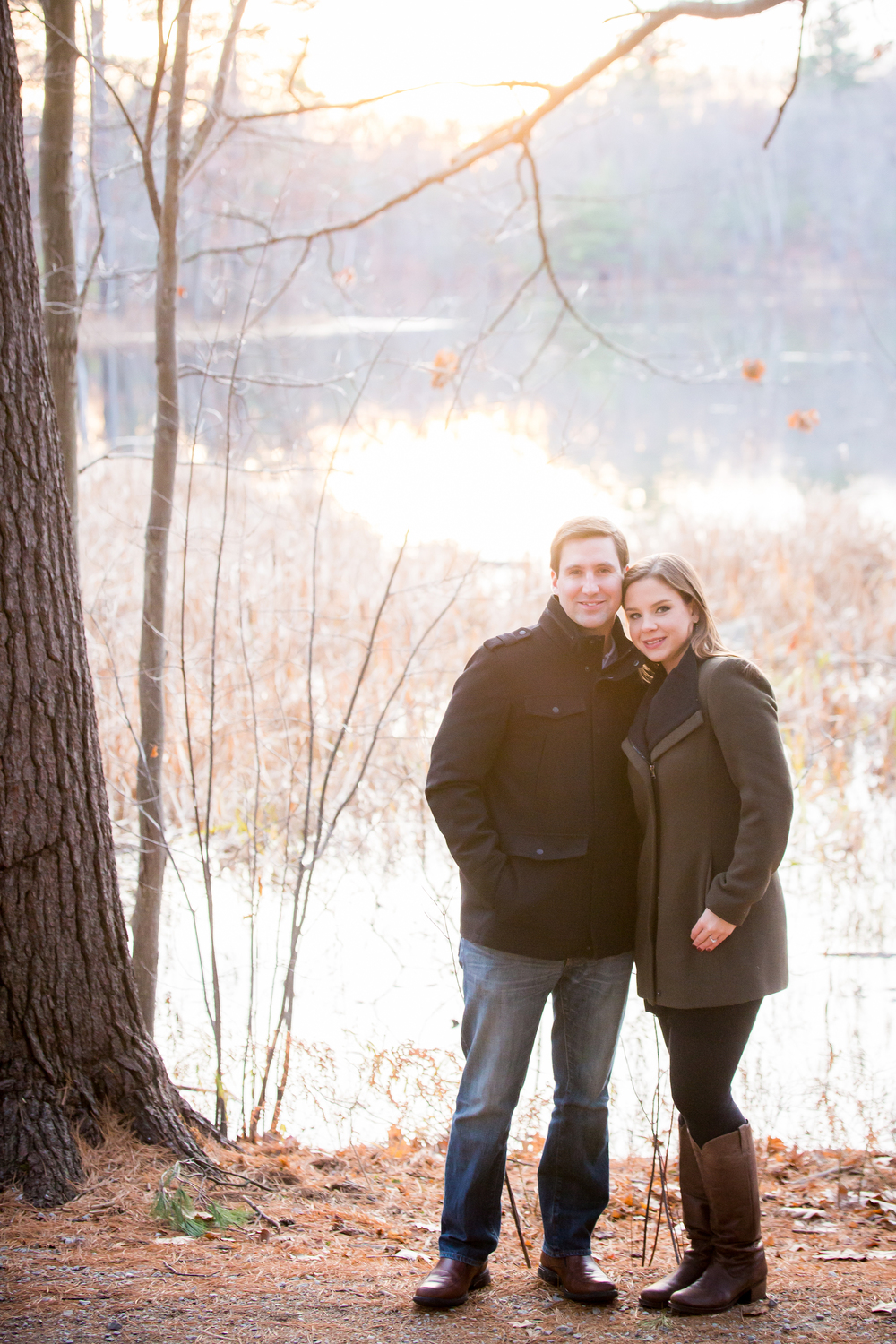 engagement photos by a pond