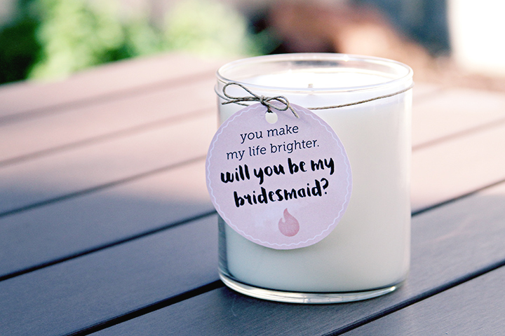 bridesmaid proposal candle