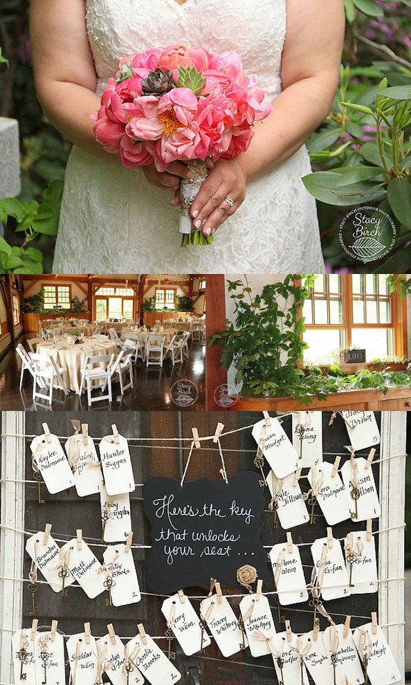 pink peonies and succulent bouquet and key seating chart