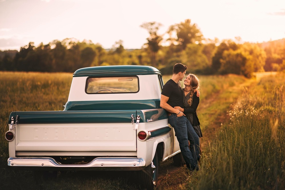 engaged in antique truck