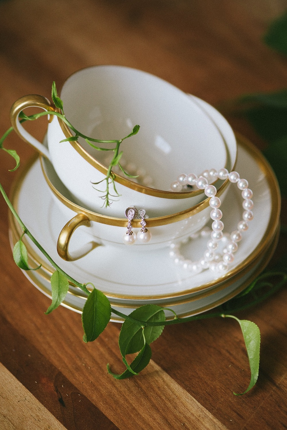 Bridal Jewelry by Mon Amie Jewelry in a Tea Cup