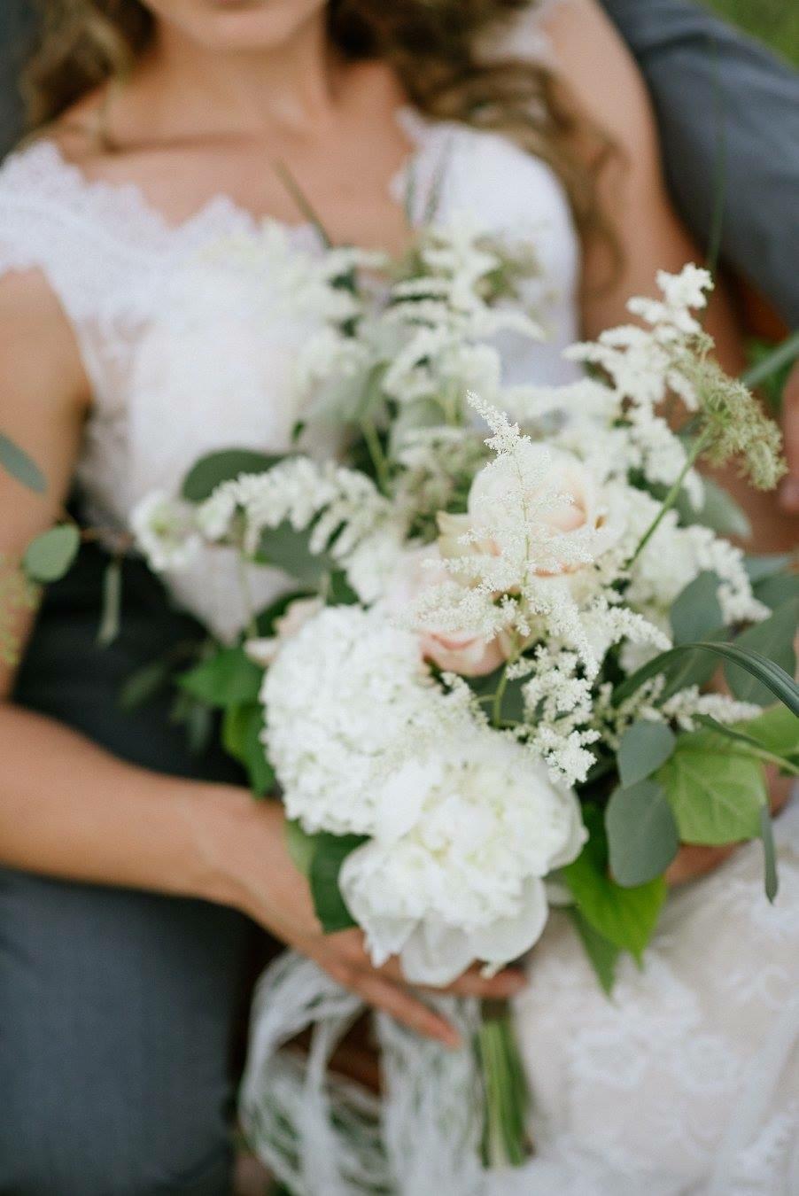 fluffy white wedding bouquet