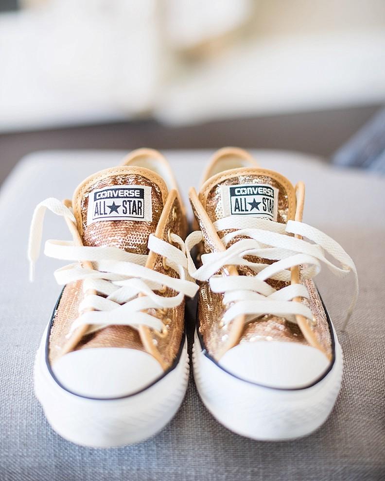 Gold Sparkle Converse Wedding Shoes