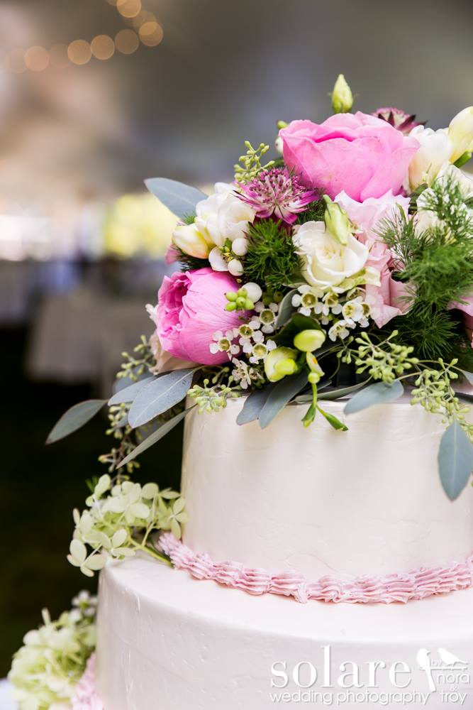 pink and white vermont wedding cake