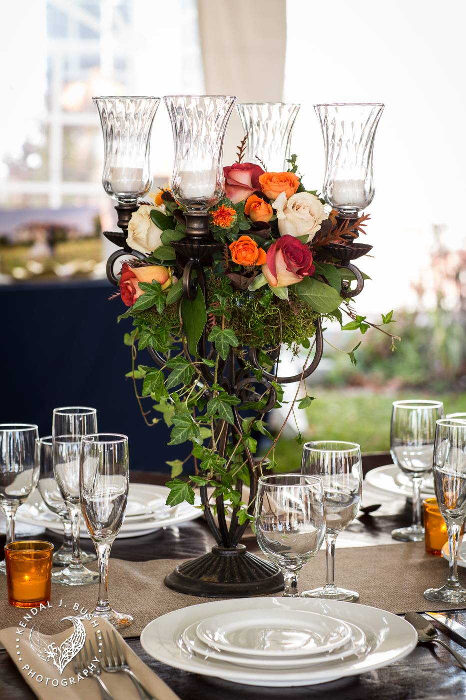 wedding candelabra and farmers table