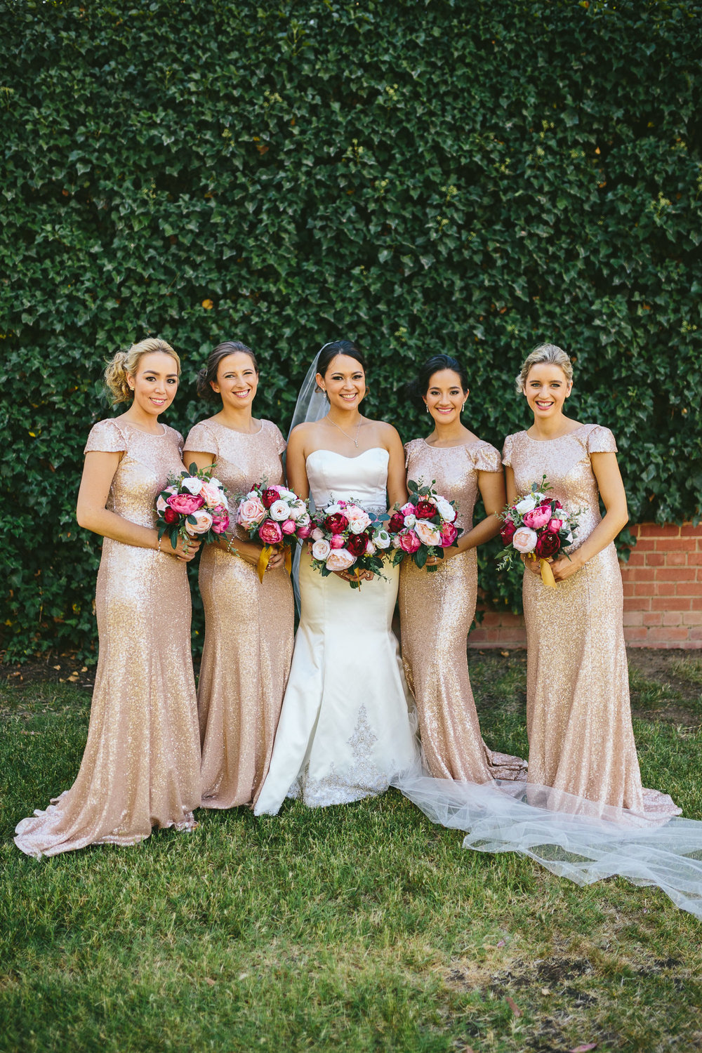 Berry Bouquets and Champagne sparkle dresses