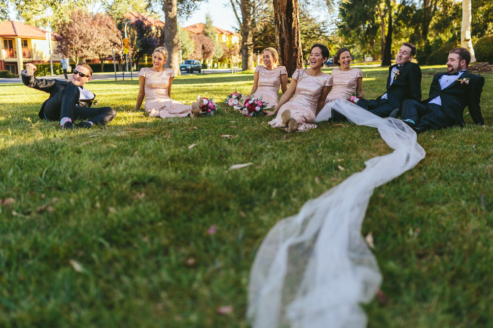 Veil and bridal party photo
