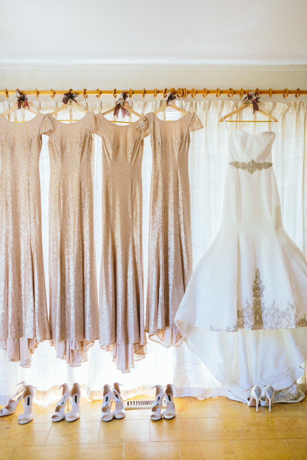 Blush Sequin Bridesmaid Dresses