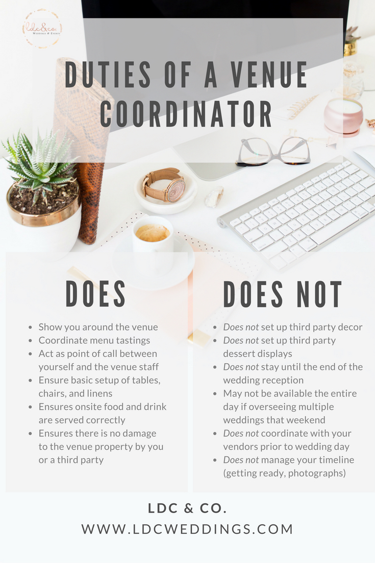 venue coordinator vs wedding coordinator ldc co
