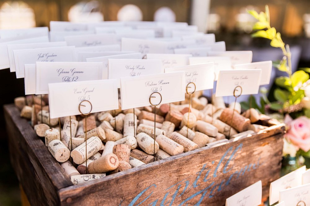 Wine cork escort cards
