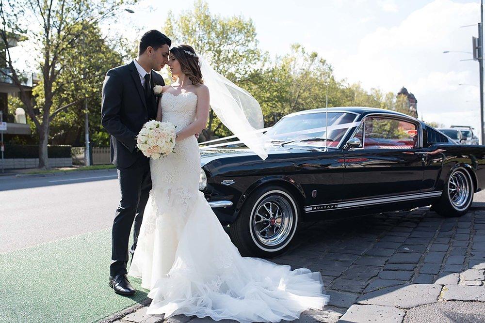 Wedding Getaway Car | Black Ford Mustang