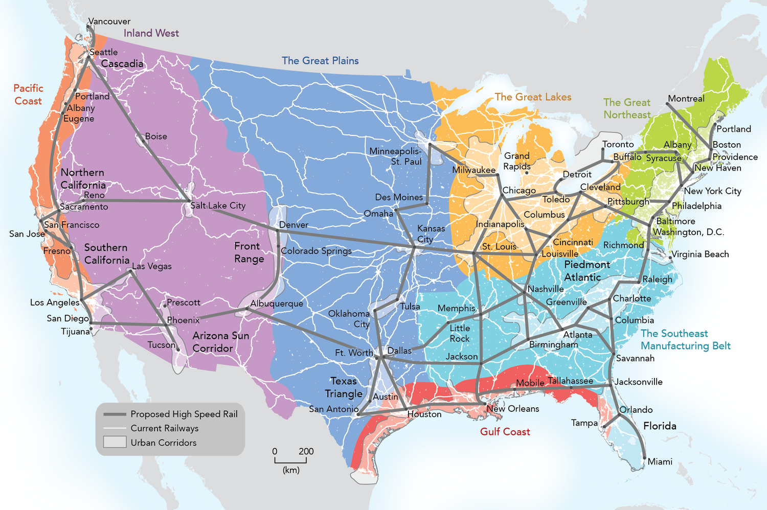 Our Maps America  Tracking Growth In The US National USA Rail - Railway map of us
