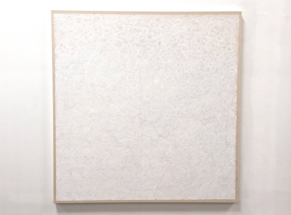 "Titanium, casein, mineral pigment and pastel on canvas, 64""x62"", $5500"