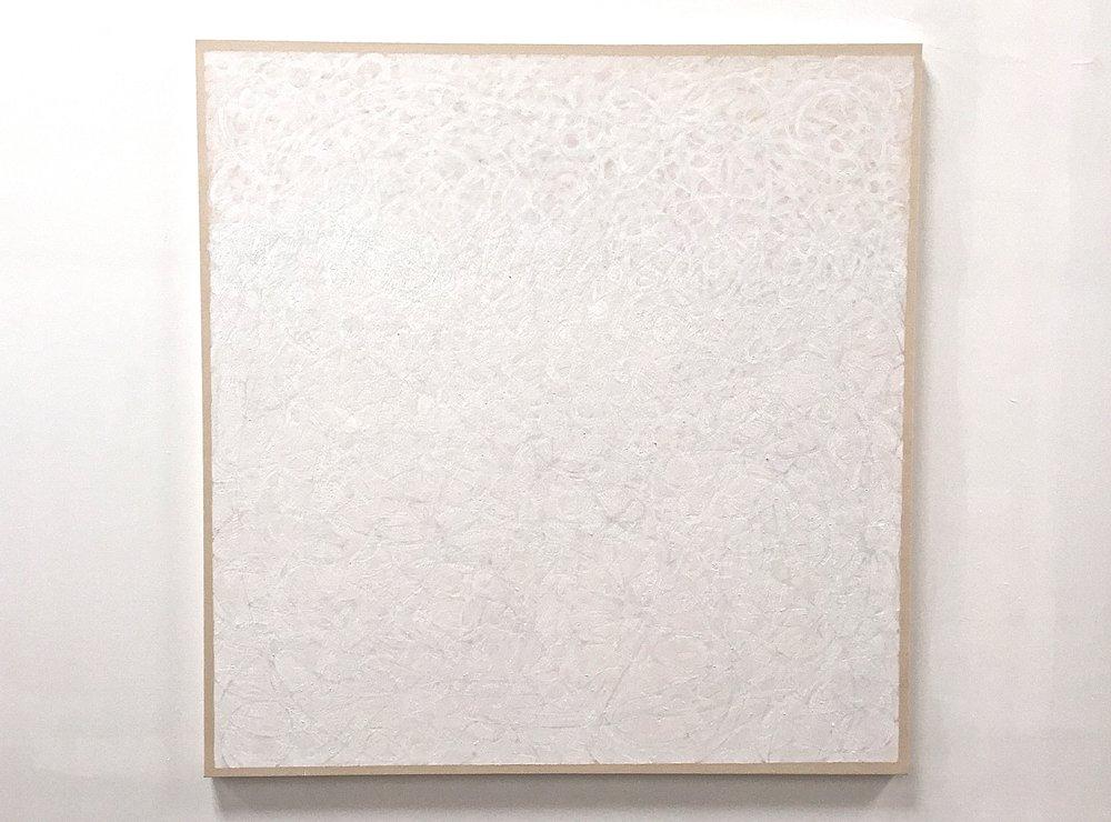 "Titanium, casein, mineral pigment and pastel on canvas, 64""x62"", $5500"