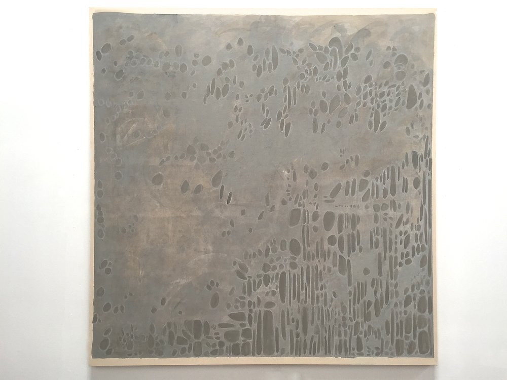 "Bare, casein, mineral pigment and pastel on canvas, 64""x62"", $5500"