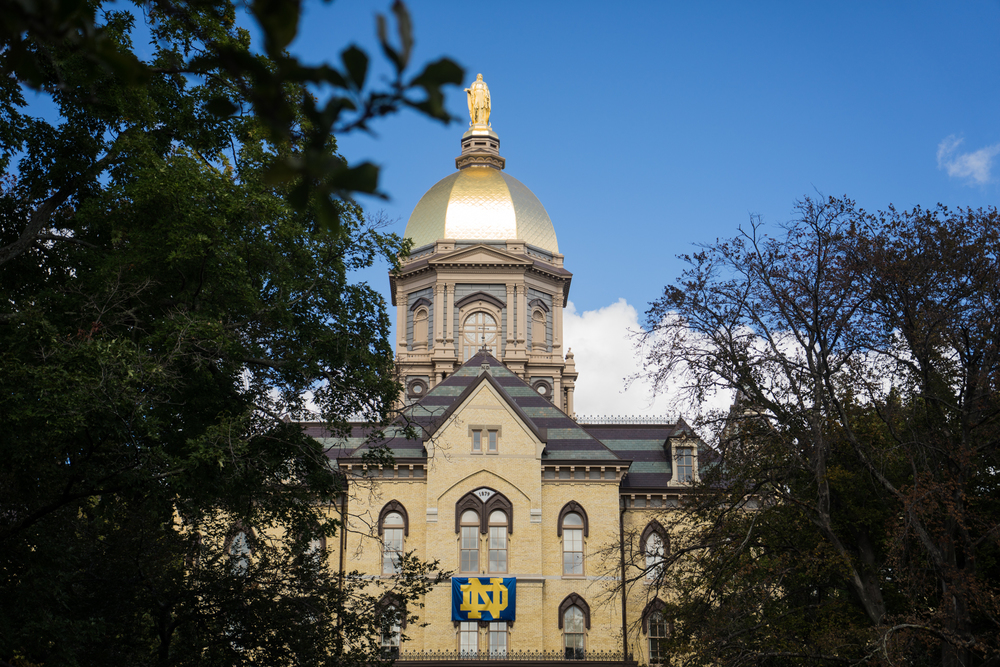 The Golden Dome at The University of Notre Dame on a game day