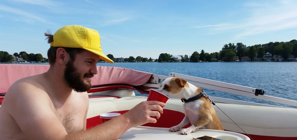Jason welcoming our friend's dog to Michigan