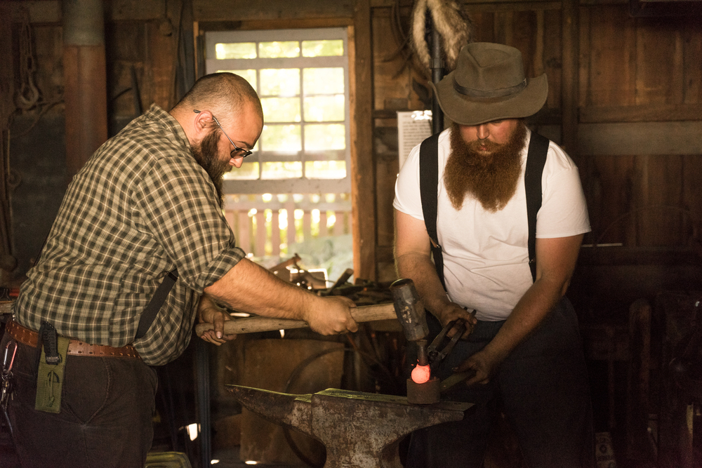 Amish metal smiths at the Apple Butter festival near Cleveland Ohio