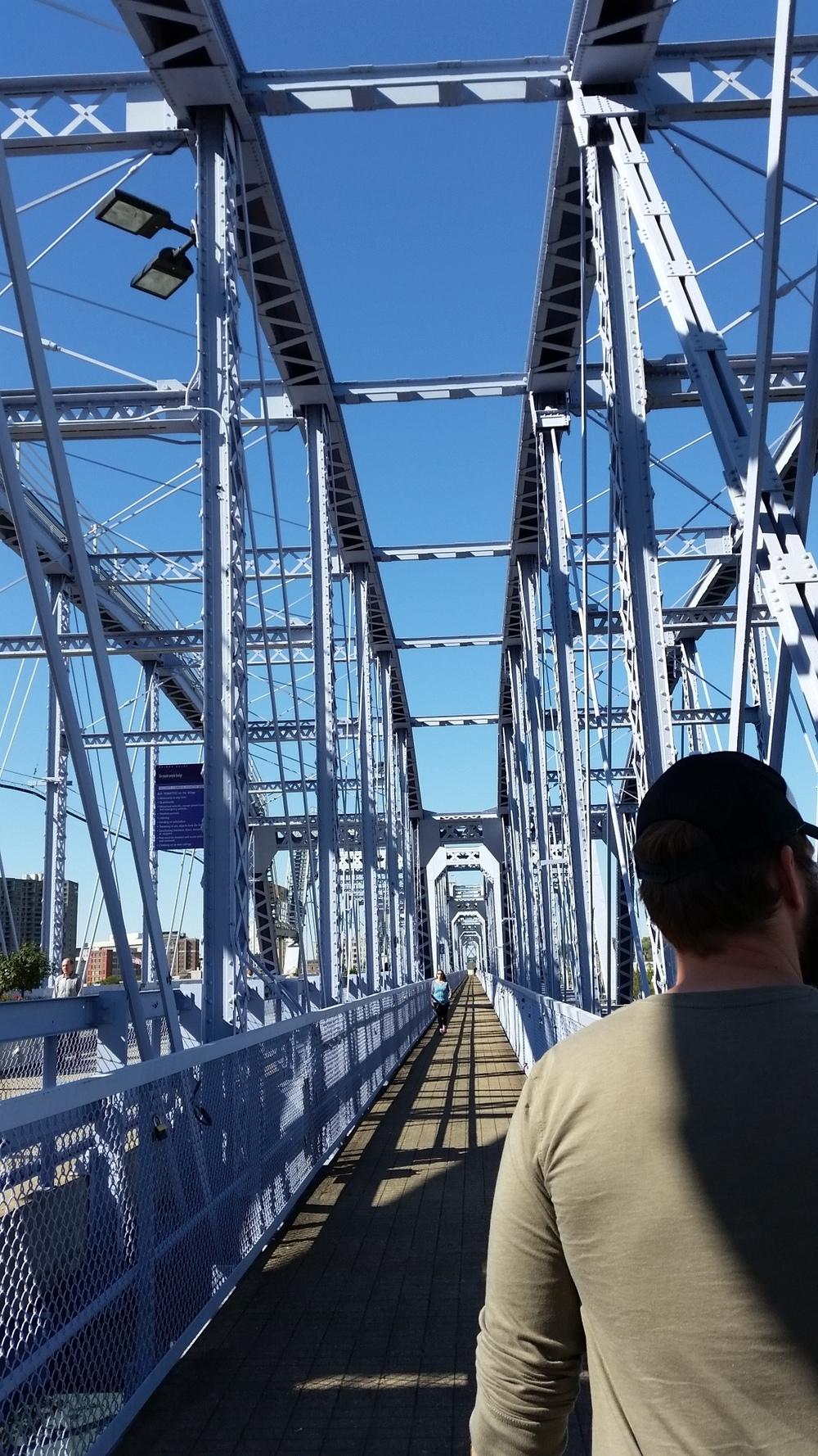 Walking the Purple People Eater bridge in Cincinnati, Ohio