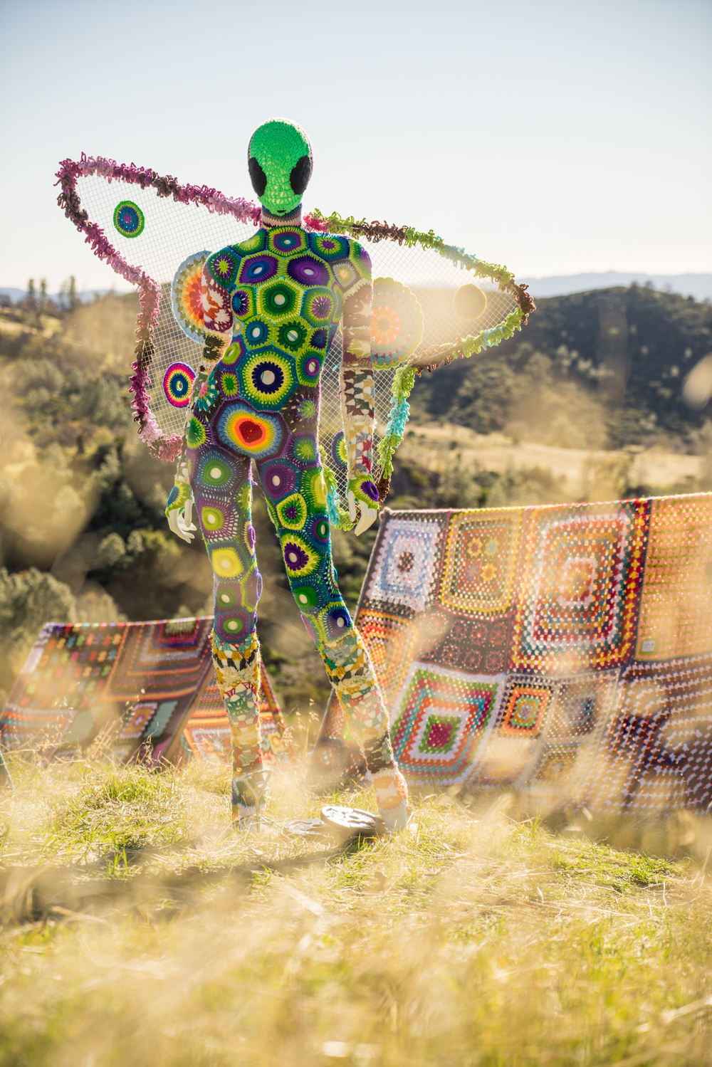 """Yarn Bomb"" art instillation at Figueroa Mountain by local Santa Barbara artist"