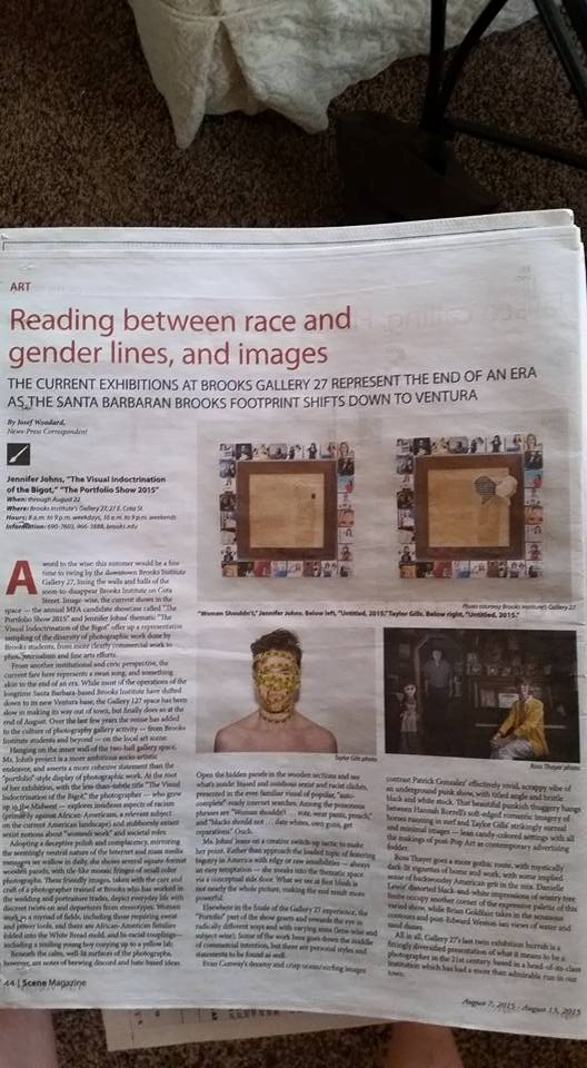 An article about Jenny's artwork and her concept in the Santa Barbara newspaper