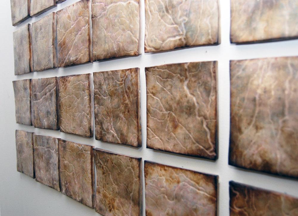 "Drainage Tiles . Earthenware with Terra-Sigillata (41 x 27""), 2014."