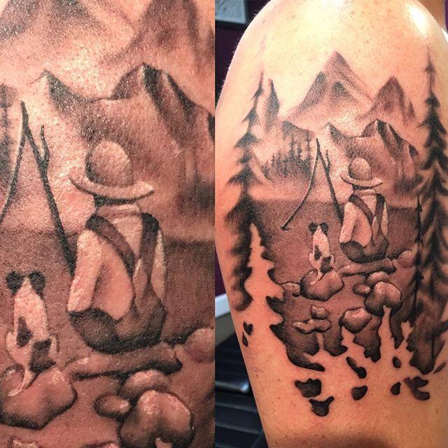 My kind of memorial tattoo. #art #artist #blackandgrey #blackandgreytattoo #memorialtattoo #forest #trees #treetattoo #mountains #fishing #boyandhisdog #tattoo #tattooartist #tattooart #femaletattooartist #girlpower