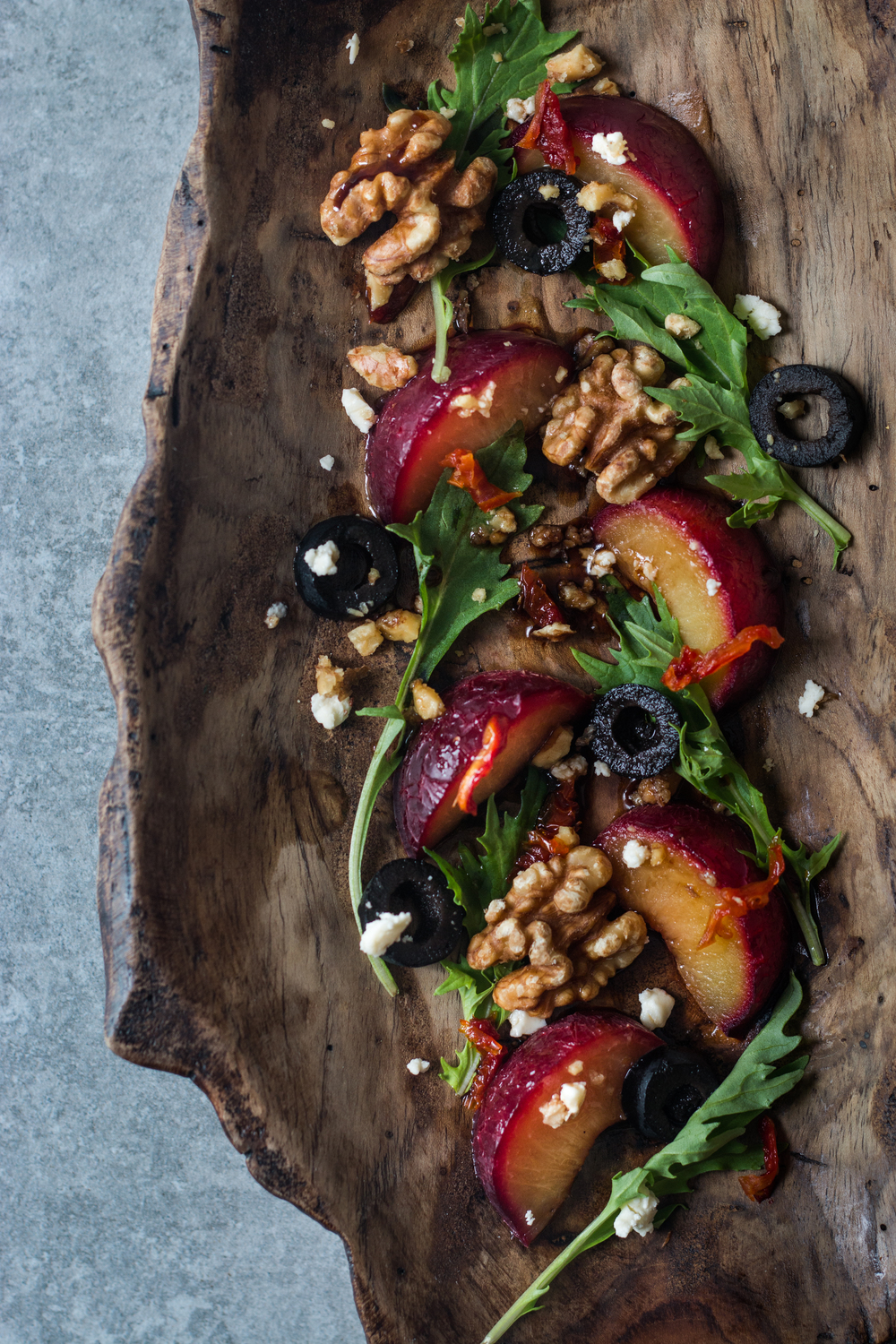 Spiced Poached Plum Salad w/ Soy Balsamic Dressing