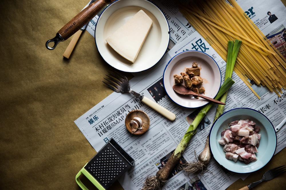 Cheesy Fermented Tofu Fettuccine w/ Leek & Pork Belly