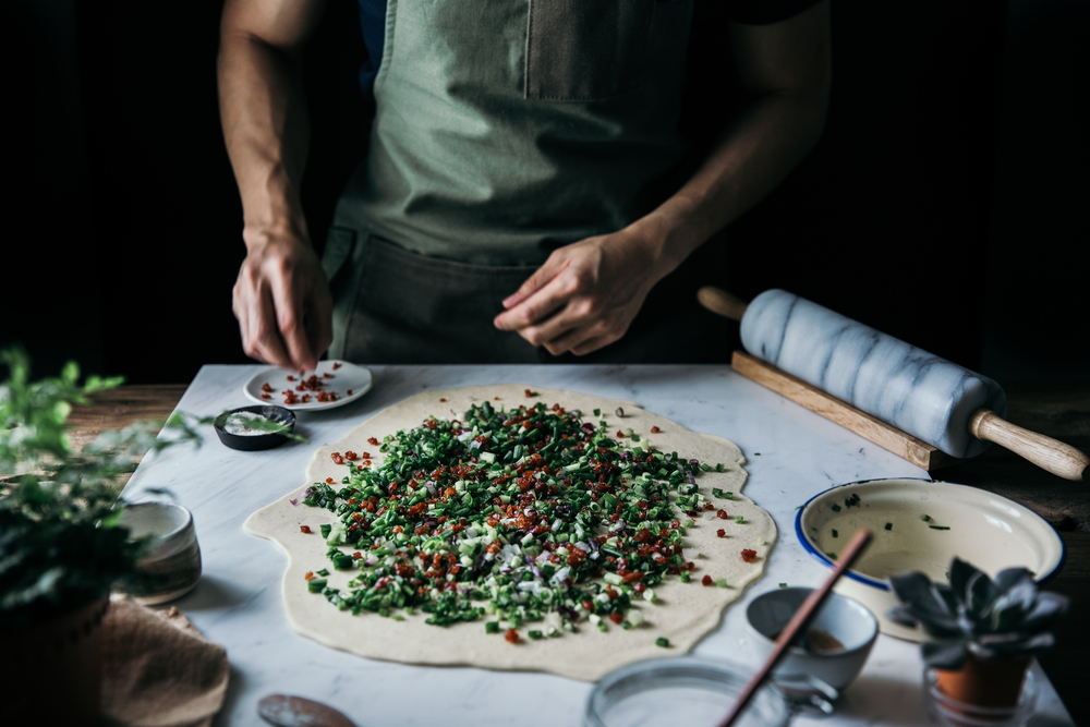 Chinese Sausage & Scallion Pancake w/ 5-Spice Honey