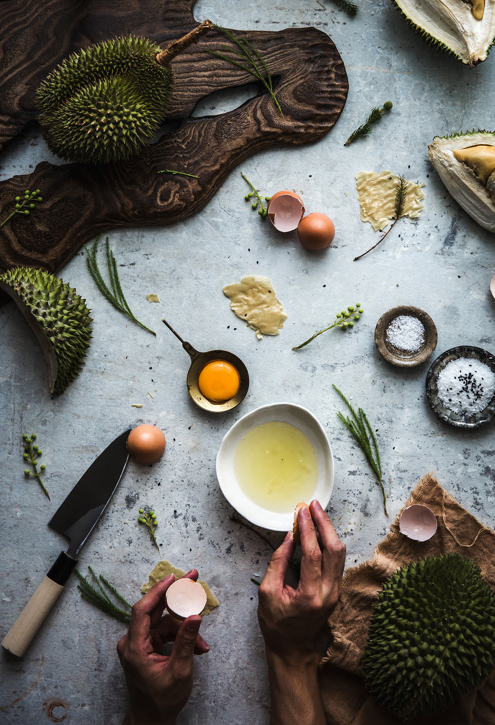 Stacked Pavlova w/ Durian Coconut Creme, Crispy Yuba & Gula Melaka Caramel