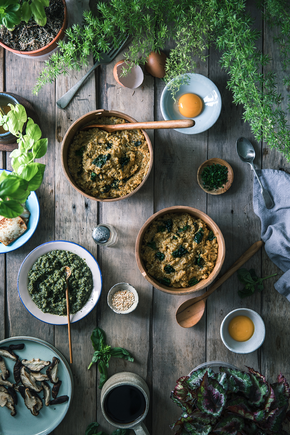 Curry Multigrain Porridge w/ Vegan Pesto