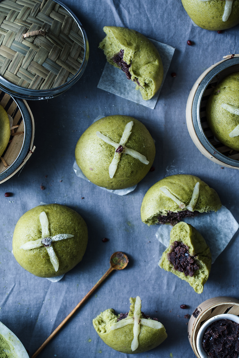 Hot Matcha Cross Bao w/ Adzuki Filling