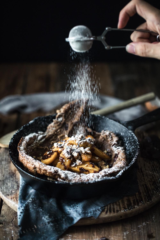 Chocolate Espresso Dutch Baby w/ Caramel Banana & Mocha Drizzle