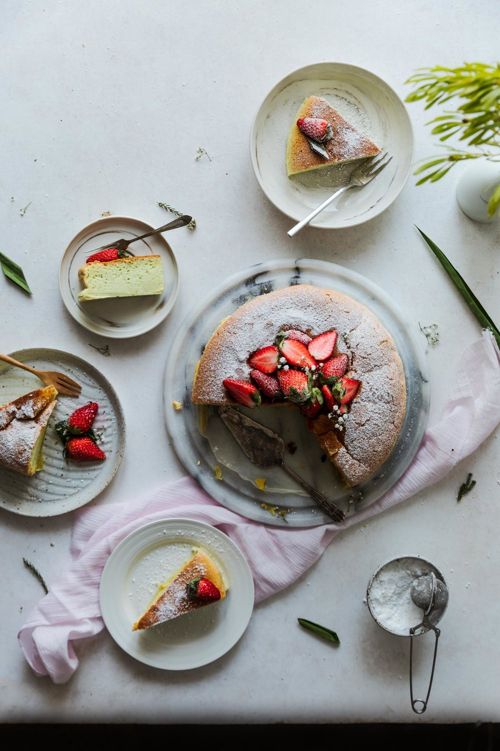 Pandan Cotton Cake w/ Fresh Strawberries