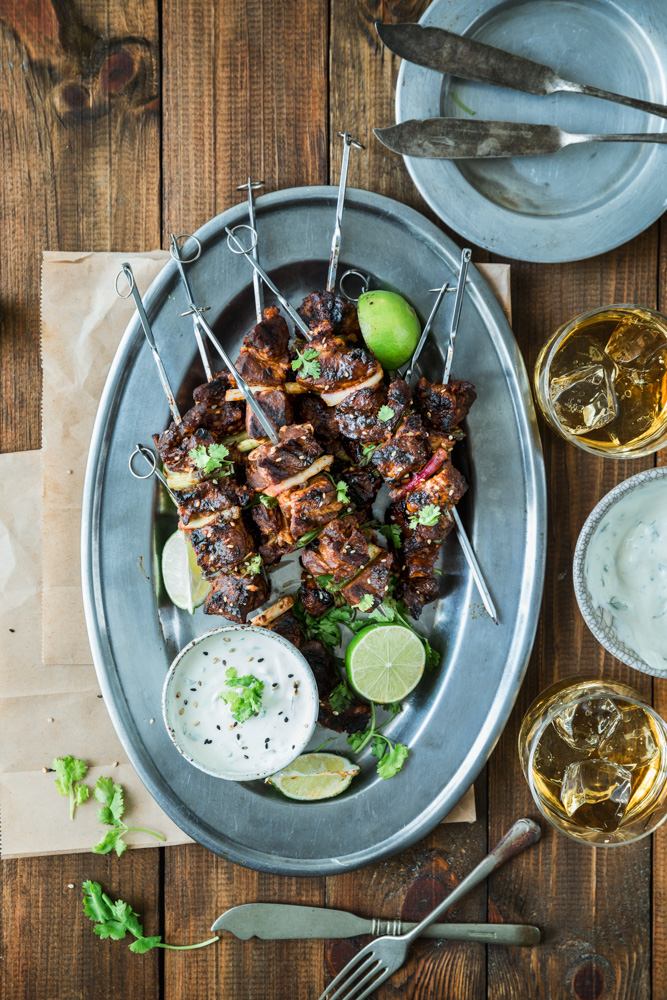 Char Siu Skewers w/ Lime Cilantro Sour Cream