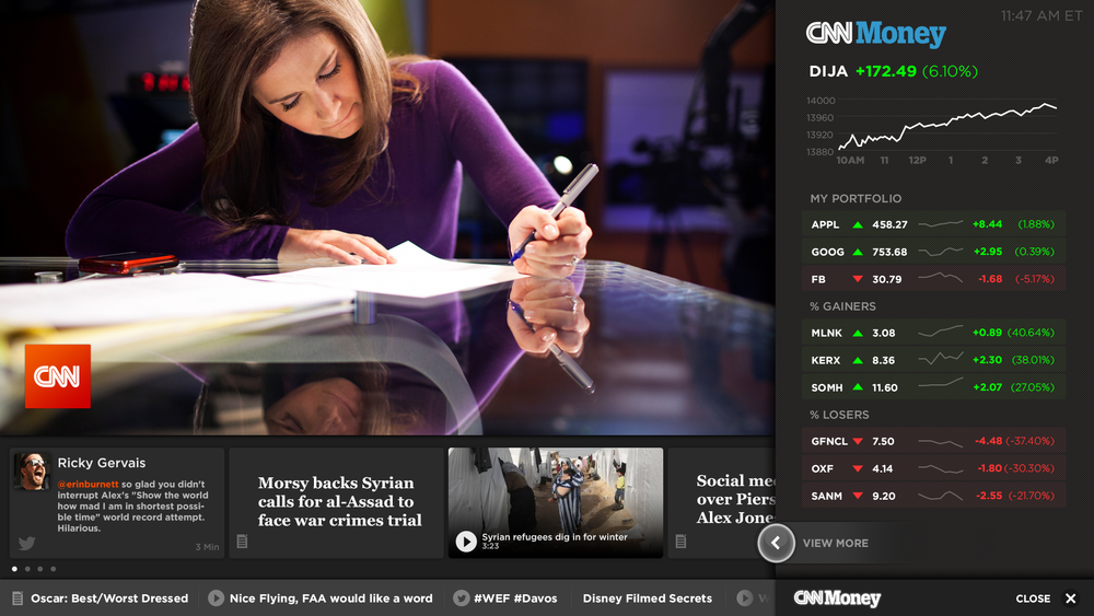 Visual Design - Live TV, CNN Money, Additional Content, Ticker